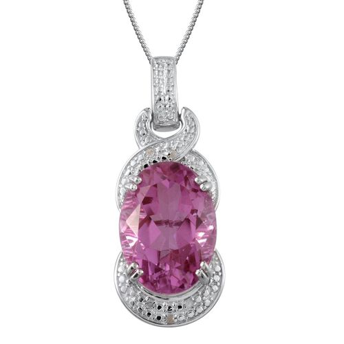 Kunzite Colour Quartz (Ovl 15.75 Ct), Diamond Pendant With Chain in Platinum Overlay Sterling Silver 15.780 Ct.