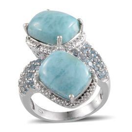 Larimar (Cush), Blue Topaz and Diamond Ring in Platinum Overlay Sterling Silver 13.020 Ct.