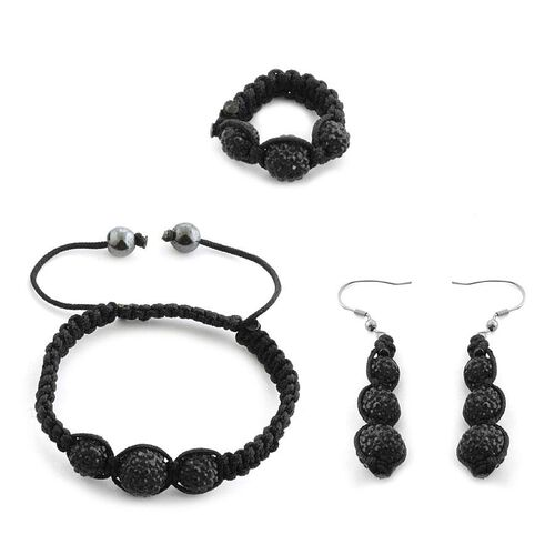 Hematite and Black Austrian Crystal Hook Earrings, Ring and Bracelet (Adjustable) 10.000 Ct.