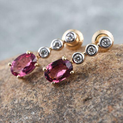ILIANA 18K Yellow Gold Pink Tourmaline (Ovl), Diamond Drop Earrings (with Screw Back) 1.000 Ct.