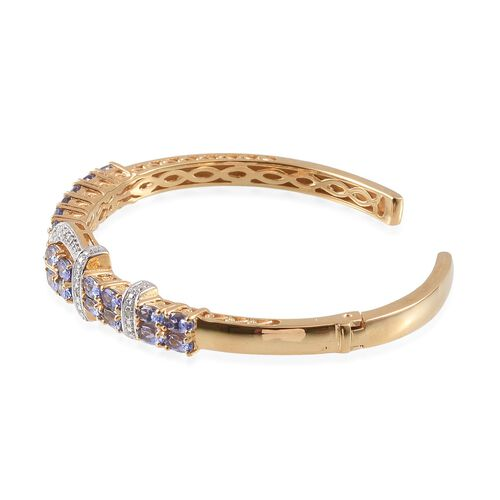 Tanzanite (Ovl), Diamond Cuff Buckle Bangle (Size 7.5) in 14K Gold Overlay Sterling Silver 6.020 Ct.
