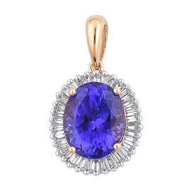 ILIANA 18K Y Gold AAA Tanzanite (Ovl 3.50 Ct), Diamond Pendant 4.000 Ct.