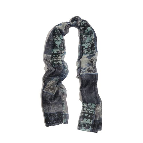 100% Mulberry Silk Black, Grey and Multi Colour Printed Scarf (Size 175x100 Cm)