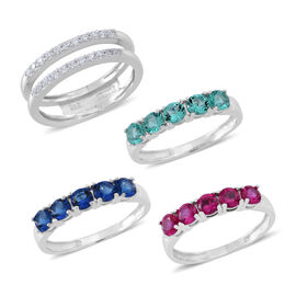 Set of 4 - ELANZA AAA Simulated Tanzanite (Rnd), Simulated Emerald, Simulated Ruby and Simulated White Diamond Interchangeable Ring in Rhodium Plated Sterling Silver