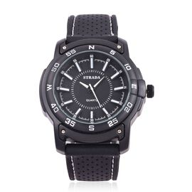 STRADA Japanese Movement Black Colour with White Marks Dial Water Resistant Watch in Silver Tone with Stainless Steel Back and Black Colour Rubber Strap with White Line