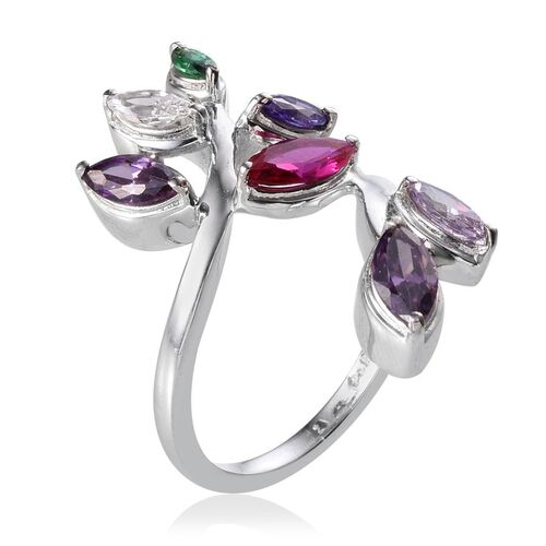 AAA Simulated Amethyst (Mrq), Simulated Ruby, Simulated Tanzanite, Simulated Emerald, Simulated Rose De France Amethyst and Simulated Diamond Ring in ION Plated Platinum Bond 3.750 Ct.