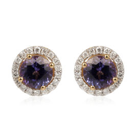 ILIANA 18K Y Gold AAA Tanzanite (Rnd), Diamond Earrings 2.000 Ct.