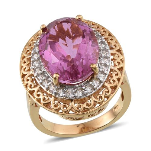 Kunzite Colour Quartz (Ovl 12.50 Ct), White Topaz Ring in 14K Gold Overlay Sterling Silver 13.500 Ct.
