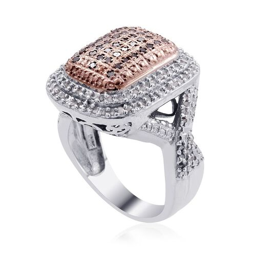 Red Diamond (Rnd), Diamond Ring in Platinum Overlay Sterling Silver 1.000 Ct.