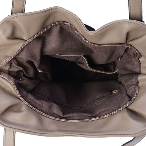 Dark Grey Colour Tote Bag (Size 30x29x13 Cm)
