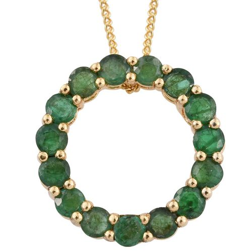 Kagem Zambian Emerald (Rnd) Circle of Life Pendant With Chain in 14K Gold Overlay Sterling Silver 1.250 Ct.