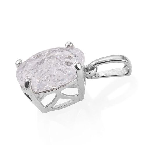 Diamond Crackled Quartz (Ovl) Solitaire Pendant in Platinum Overlay Sterling Silver 3.250 Ct.