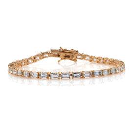 Espirito Santo Aquamarine (Oct) Tennis Bracelet (Size 8) in 14K Gold Overlay Sterling Silver 9.000 Ct.