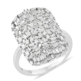 Designer Inspired Fire Cracker Diamond (Bgt) Cluster Ring in Platinum Overlay Sterling Silver 1.000 Ct.