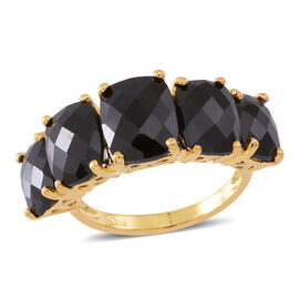 Boi Ploi Black Spinel (Cush 4.00 Ct) 5 Stone Ring in 14K Gold Overlay Sterling Silver 14.000 Ct.