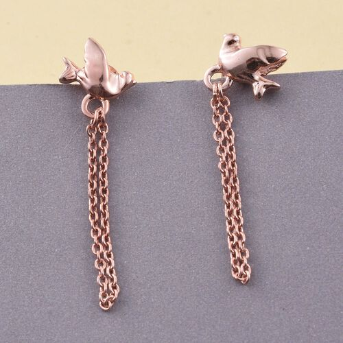 Flying Bird Silver Earrings (with Push Back) in Rose Overlay, Silver Wt. 1.97 Gms