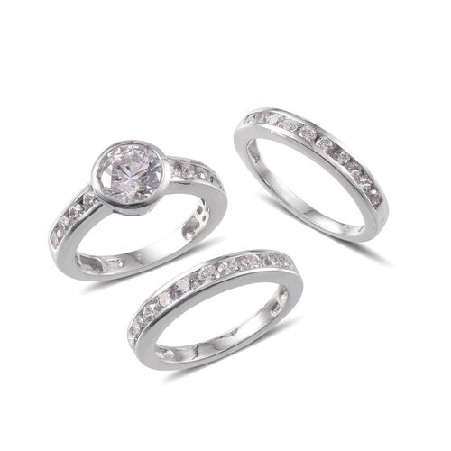 J Francis - Platinum Overlay Sterling Silver (Rnd) 3 Ring Set Made with SWAROVSKI ZIRCONIA