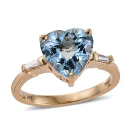 One Off-ILIANA 18K Yellow Gold 3 Carat Santa Maria Aquamarine Heart Ring With Diamond SI G-H