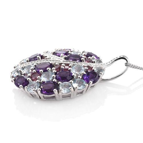GP Amethyst (Ovl), Sky Blue Topaz, Rhodolite Garnet and Kanchanaburi Blue Sapphire Pendant With Chain in Platinum Overlay Sterling Silver 7.250 Ct.