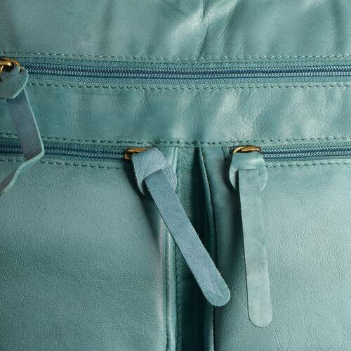 Genuine Leather RFID Blocker Light Turquoise Colour Sling Bag with External Pockets and Adjustable Shoulder Strap (Size 28X24X5 Cm)