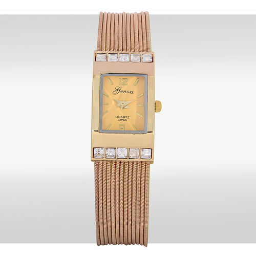 GENOA Japanese Movement Yellow Dial White Glass Water Resistant Watch in Gold Tone Strap