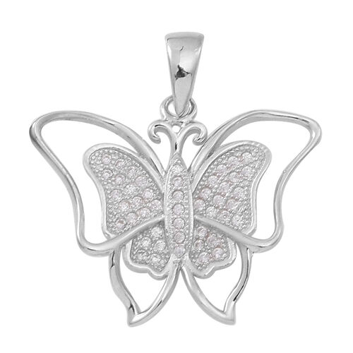 ELANZA AAA Simulated White Diamond (Rnd) Butterfly Pendant in Rhodium Plated Sterling Silver