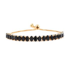 Boi Ploi Black Spinel (Ovl) Adjustable Bracelet (Size 8) in 14K Gold Overlay Sterling Silver 9.500 Ct.