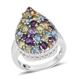 GP Hebei Peridot (Pear), Amethyst, Electric Swiss Blue Topaz, Citrine and Multi Gem Stone Ring in Platinum Overlay Sterling Silver 3.750 Ct.
