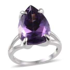 9K W Gold Lusaka Amethyst (Pear) Solitaire Ring 10.000 Ct.