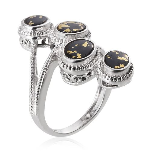 Goldenite (Ovl) Crossover Ring in Platinum Overlay Sterling Silver 2.750 Ct.