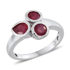 African Ruby (Pear 0.75 Ct) 3 Stone Ring in Platinum Overlay Sterling Silver 2.000 Ct.