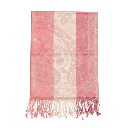100% Super Fine Silk Dark and Light Pink Colour Jacquard Jamawar Shawl with Paisley Motifs and Fringes at the Bottom (Size 180x70 Cm) (Weight 125 - 140 Gms)