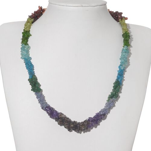 Multi Gem Stones Necklace (Size 20) in Sterling Silver 239.580 Ct.