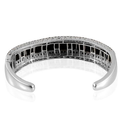 Boi Ploi Black Spinel (Bgt) Bangle (Size 7.5) in Platinum Overlay Sterling Silver 21.750 Ct.