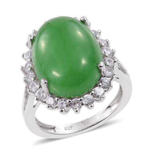 Green Jade Ovl 11 15 Ct Natural Cambodian Zircon Ring
