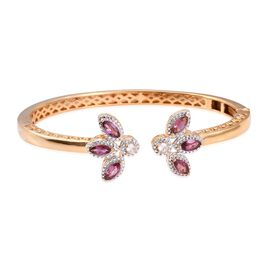 Designer Inspired Rhodolite Garnet (Mrq), Natural Cambodian Zircon Bangle (Size 7.5) in ION Plated 18K Yellow Gold Bond 2.500 Ct.