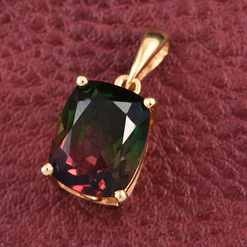 Bi-Color Tourmaline Quartz (Cush) Solitaire Pendant in 14K Gold Overlay Sterling Silver 3.500 Ct.