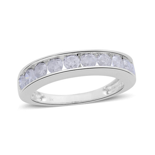 9K White Gold 1 Carat Diamond SGL Certified (I 3/G-H) Half Eternity Band Ring.