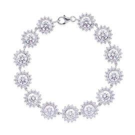 J Francis - Platinum Overlay Sterling Silver (Rnd) Bracelet Made with SWAROVSKI ZIRCONIA (Size 8) 22.100 Ct.