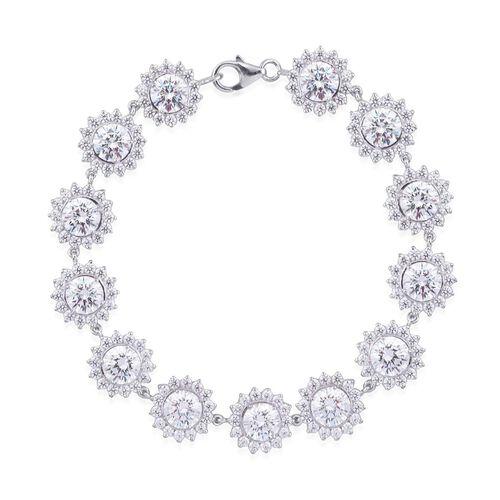 J Francis - Platinum Overlay Sterling Silver (Rnd) Bracelet Made with SWAROVSKI ZIRCONIA 18.7 Ct (Size 7)