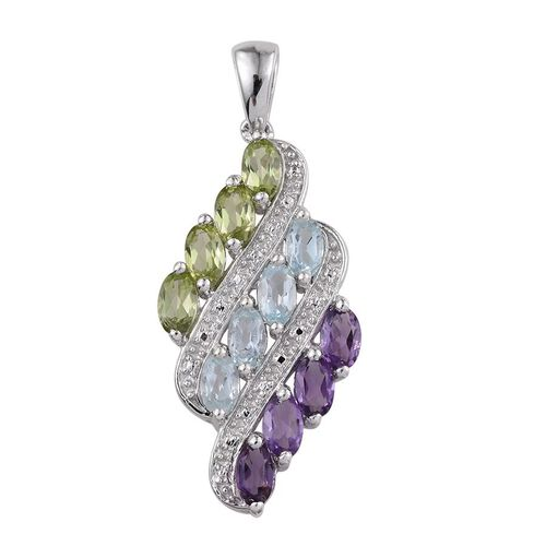 Sky Blue Topaz (Ovl), Hebei Peridot and Amethyst Pendant in Platinum Overlay Sterling Silver 2.750 Ct.