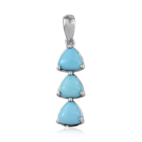 Kingman Turquoise (Trl) Trilogy Pendant in Platinum Overlay Sterling Silver 1.500 Ct.