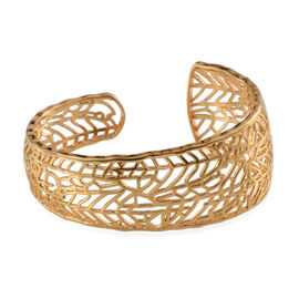 Designer Inspired 14K Gold Overlay Sterling Silver Cuff Bangle (Size 7.5), Silver wt 30.08 Gms.