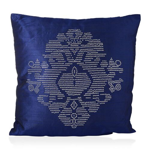 Damask Pattern Blue Colour Cushion with Silver Studs (Size 42x42 Cm)