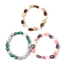 Set of 3 - Fresh Water Pink, Green, White and Multi Colour Pearl Stretchable Bracelet (Size 7.50)