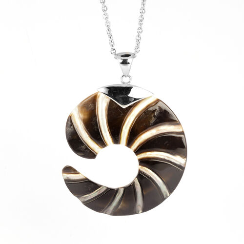 Brown Shell Pendant in Silver Tone with Stainless Steel Rope Chain