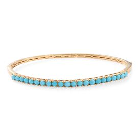AA Arizona Sleeping Beauty Turquoise (Rnd) Bangle (Size 7.5) in 14K Gold Overlay Sterling Silver 2.500 Ct.