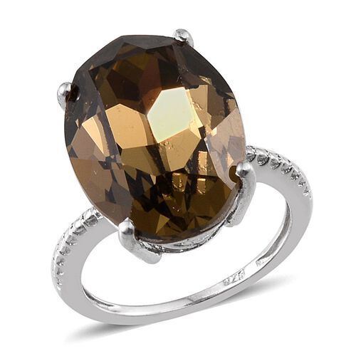Crystal from Swarovski - Smoky Quartz Colour Crystal (Ovl) Ring in Platinum Overlay Sterling Silver