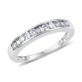 ILIANA 18K W Gold IGI Certified Diamond (Rnd) (SI/G-H) Half Eternity Band Ring 0.500 Ct.
