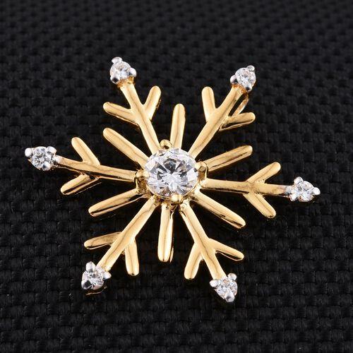J - Francis 14K Gold Overlay Sterling Silver (Rnd) Snowflake Pendant  made with SWAROVSKI ZIRCONIA